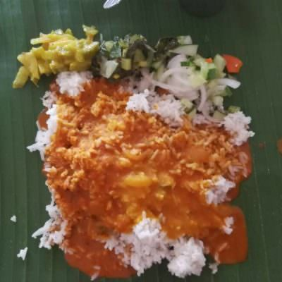 Plain White Rice with Mix Sauce