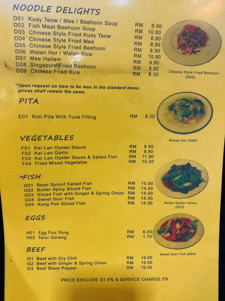 List of noodle delight, pita, vegetable, fish, eggs and beef list of menu