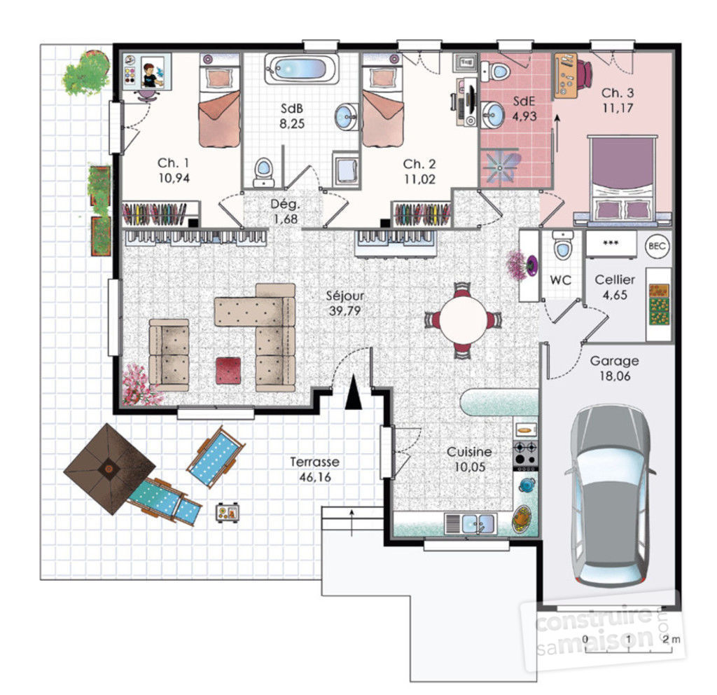 Plan Maison Villa Basse Mc Immo