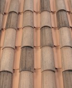 Corona Tapered two piece clay roof tile, B320-R Rustic Red Blend.