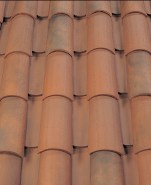 Corona Tapered two piece clay roof tile, B333-R Rustic Smoke Blend.