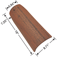 Corona Tapered Mission clay roof tile dimensions.