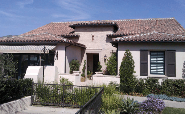 Classic S mission clay roof tile in B320-R Rustic Red Blend on home in Arista at the Crosby by Davidson Homes, Rancho Santa Fe, CA