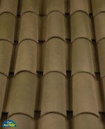 Classic Tapered 2-piece mission clay roof tile, B305 Weathered Green Blend