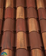 Classic Tapered 2-piece mission clay roof tile, CB389-SC Marco Blend