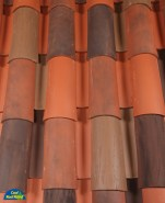 Classic Tapered 2-piece mission clay roof tile, CB421-SC Puerto Nuevo Blend
