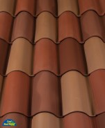 Classic S Mission clay roof tile in B341 Carmel Blend.