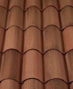 Classic S Mission clay roof tile, CB364-R Vintage Carmel Blend.