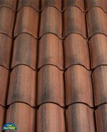 Classic S Mission clay roof tile, Light variation display of B320-R Rustic Red.