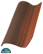 Classic S Mission clay roof tile, F19 Ironwood Crown Flash color.