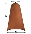 "TSV02-18 Old San Valle 18"" Mission historical clay roof tile"