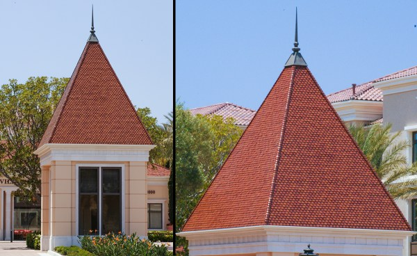 Custom scallop clay roof tiles on guardhouse at Villas Fashion Island in Newport Beach, California