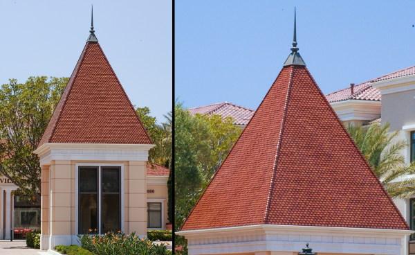 Custom scallop clay roof tiles on guardhouse at Villas Fashion Island in Newport Beach, California