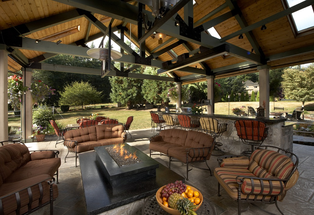 Large Covered Outdoor Living Space Remodel - McAdams ... on Outdoor Kitchen Living Spaces id=86631