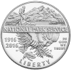 The clad obverse features a hiker discovering the majesty of the wilderness and a small child discovering a frog hiding in ferns, celebrating the diversity and breadth of the National Park Service.