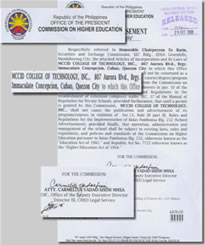 CHED Indorsement Certificate of MCCID College of Technology