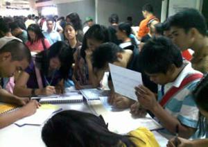 Students fill up NBI Form