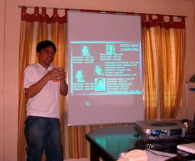 Sir Jojo explains about MCCID programs and accomplishments.