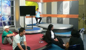 Sir Jojo interprets inside GMA-7 Studio (Photo Courtesy of DLS-CSB SDEAS)