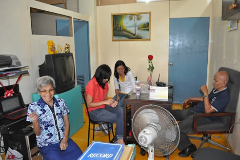 Monde Nissin HRD Staff Nilda Villa and Lara Bombasey pays a visit to MCCID President Remberto Esposa.