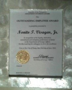 Employee of the Year 2012 Plaque