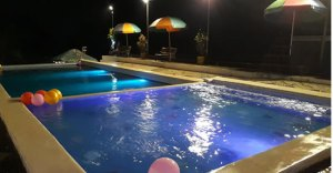 Swimming Pool Area at night