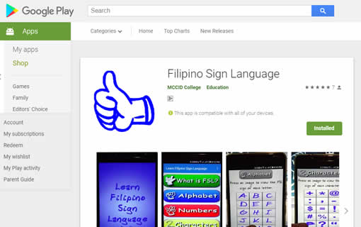 Filipino Sign Language Google Android App