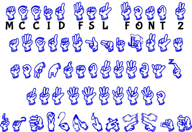 MCCID FSL Font Words with Sign Language
