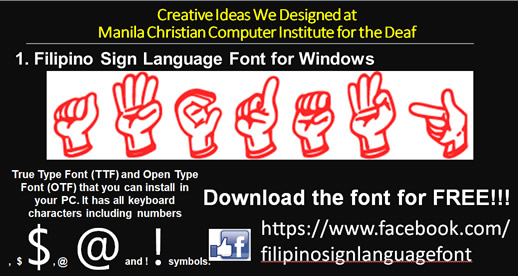 Filipino Sign Language Font 2 can be downloaded for free.