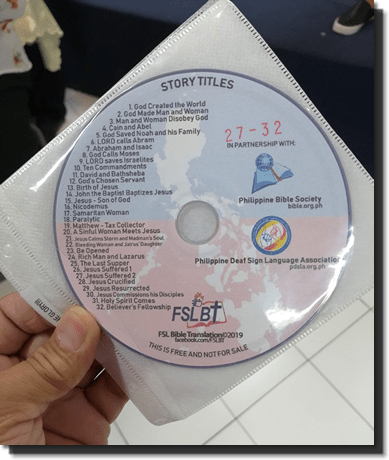 FSL Bible Translation DVD on hand