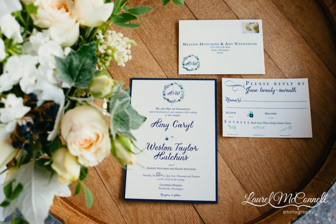 Navy Blue And Sage Columbia Winery Wedding Featured On