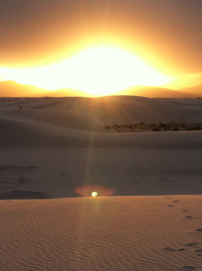 White Sands National Monument sunset glow