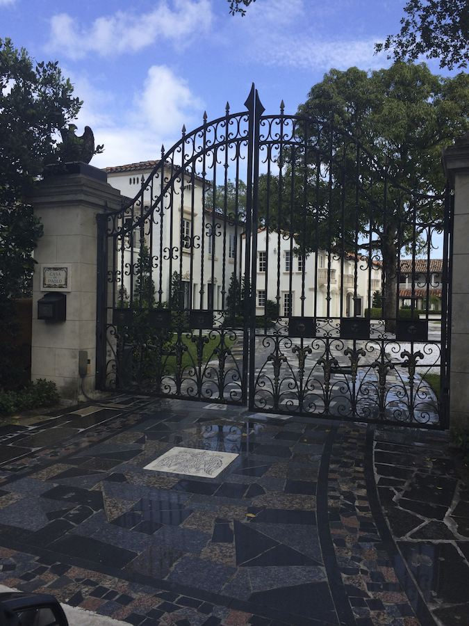 gated entry to Star Island mansion in Miami Beach, Florida