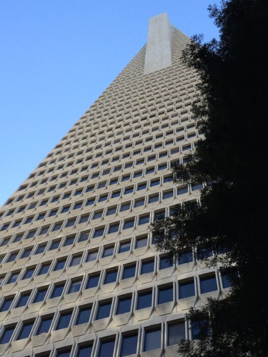 looking up The Pyramid Building in San Francisco