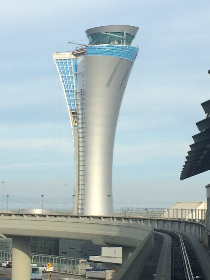 San Francisco Airport Tower from train