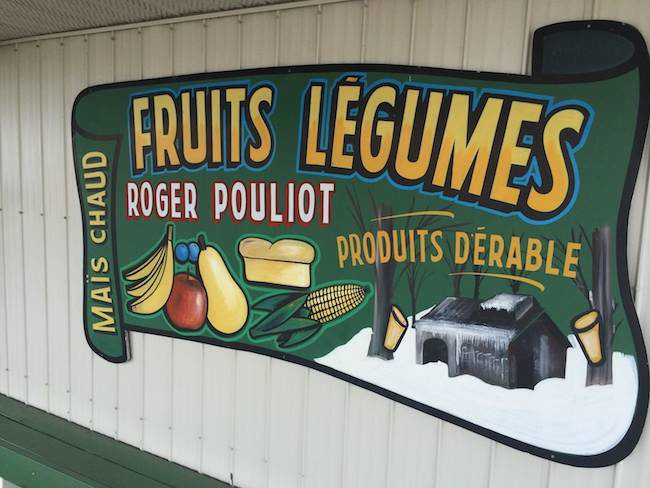 French produce sign in Quebec