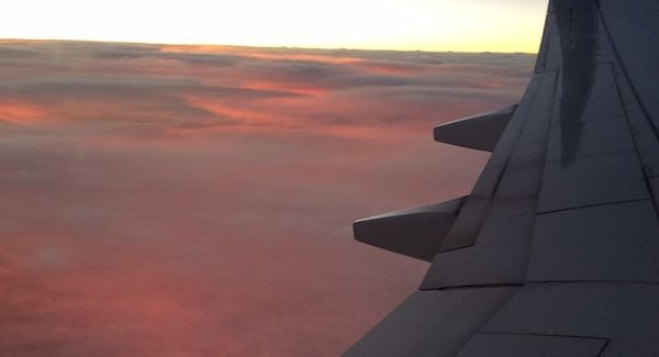 red cloud sunset from an airplane