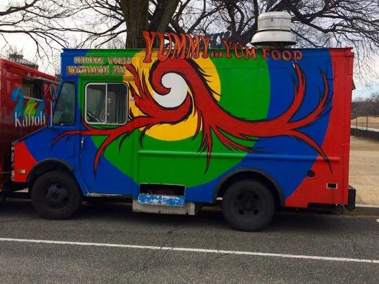 a colorful food truck in Washington DC