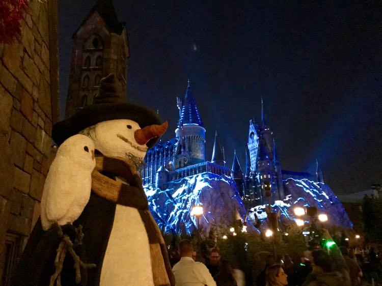 Hogsmead snowman Harry Potter Christmas Orlando