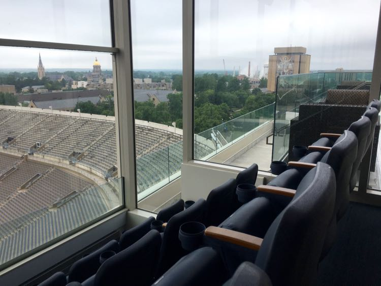Notre Dame stadium suite with view of the campus