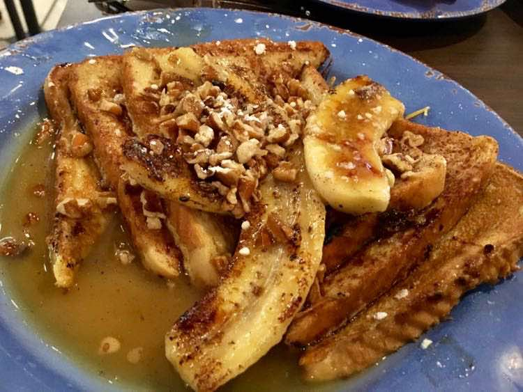 French Toast with bananas and syrup