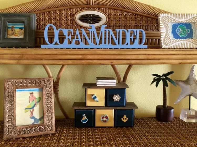 beach themed decorations in South Padre condo