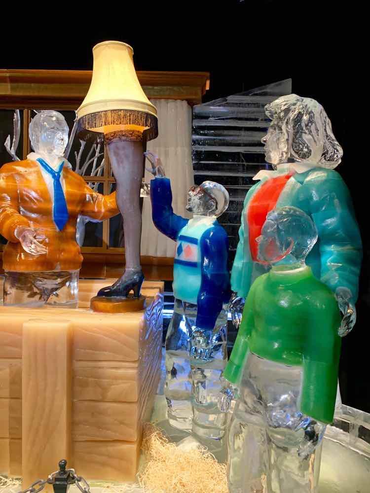 lifesize ice statues A Christmas Story theme