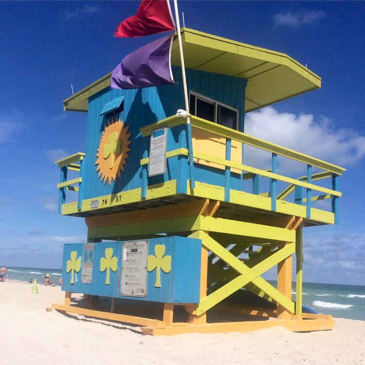 colorful Miami Beach lifeguard stand