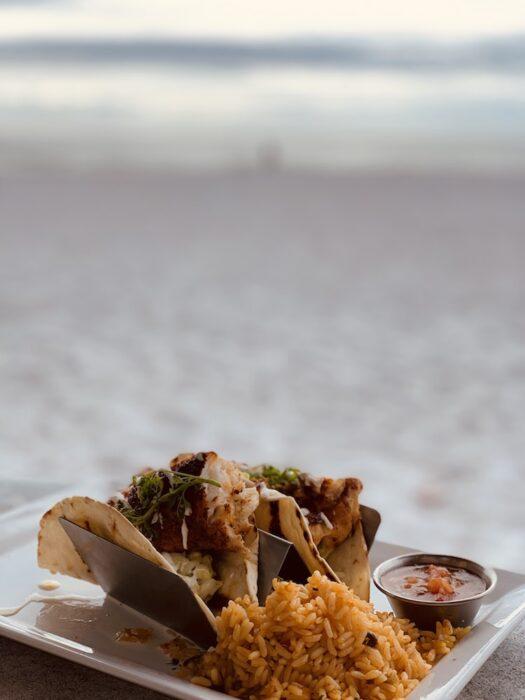 fish tacos at a Florida beach restaurant
