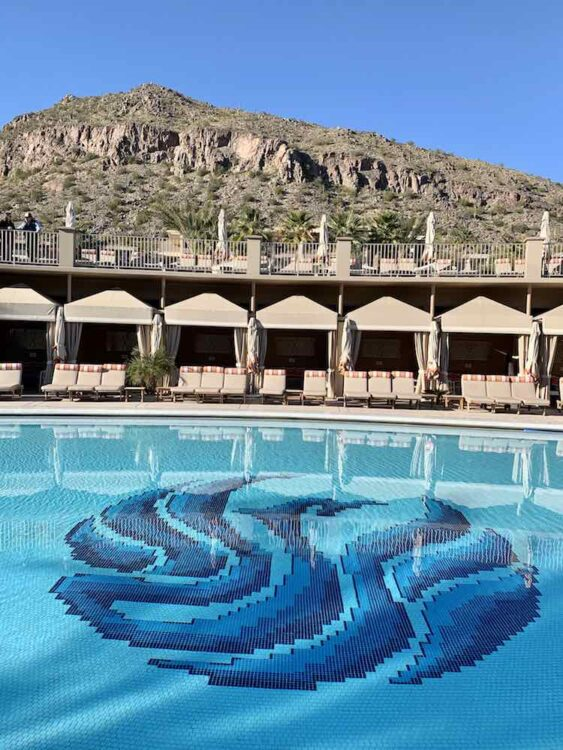 The Phoenician pool with Camelback Mountain