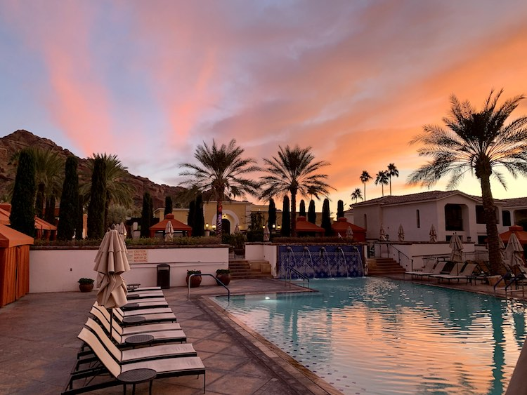 desert sunset over Omni Scottsdale pool