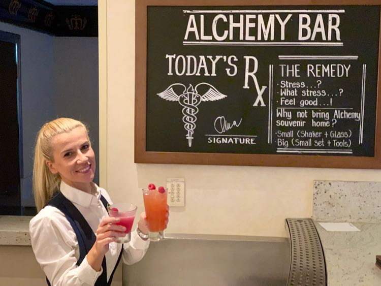 craft cocktails at Alchemy Bar on Carnival cruise