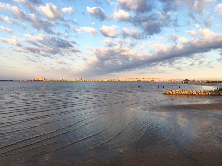 gorgeous Biloxi Bay sunrise from Ocean Springs Front Beach