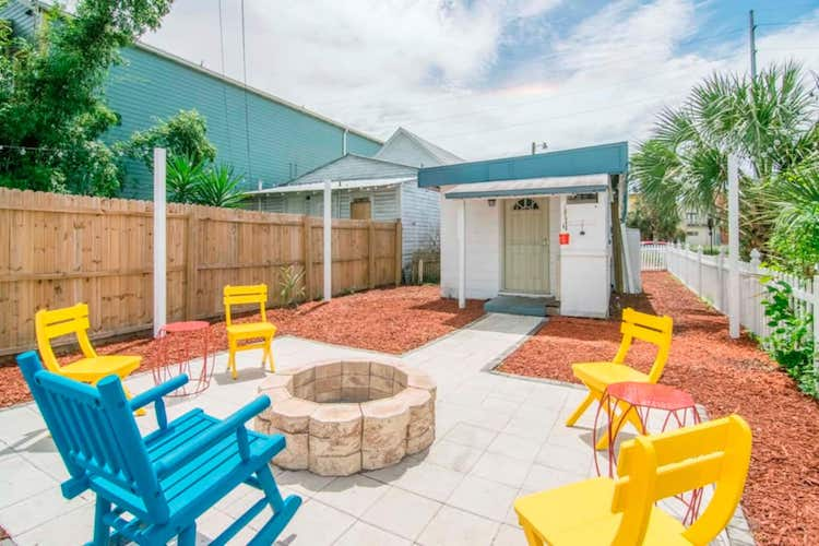 colorful patio chairs at Ybor Tampa Airbnb
